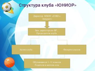 Структура клуба «ЮНИОР» Директор МБОУ «СОШ с. Амурзет» Зам. директора по ВР