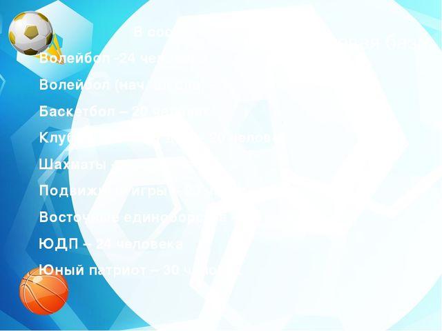 Нормативно-правовая база В состав клуба входят : Волейбол -24 человека Волейб...