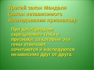 Третий закон Менделя (закон независимого наследования признаков): При дигибри