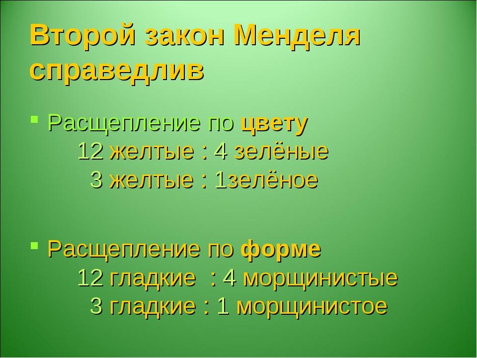 Второй закон Менделя справедлив Расщепление по цвету 12 желтые : 4 зелёные...