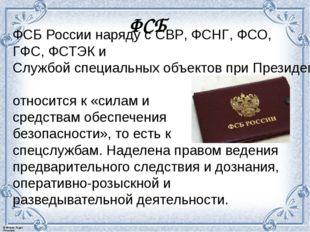 ФСБ России наряду сСВР,ФСНГ,ФСО,ГФС,ФСТЭКиСлужбой специальных объектов