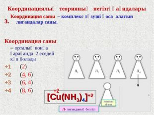Координациялық теорияның негізгі қағидалары Координация саны – комплекс түзуш
