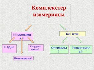 Комплекстер изомериясы құрылымдық Кеңістік Тұздық Ионизациялық Координа-циялы