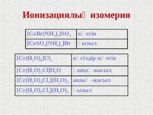 Ионизациялық изомерия [CoBr(NH3)5]SO4 күлгін [CoSO4(NH3)5]Brқызыл [Cr(H2O)6