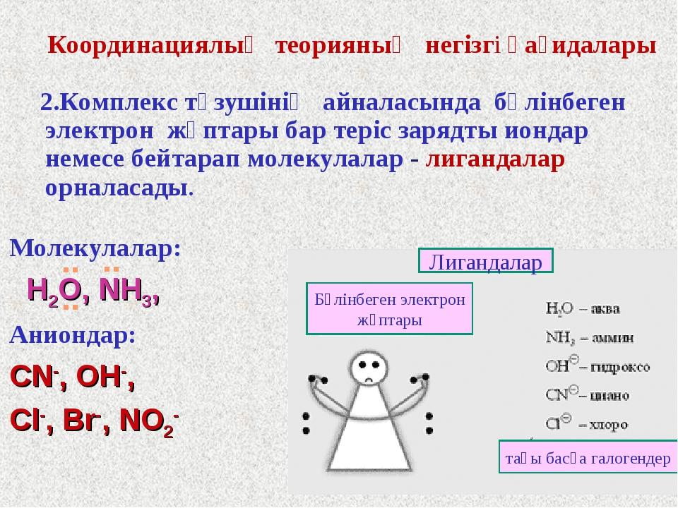 2.Комплекс түзушінің айналасында бөлінбеген электрон жұптары бар теріс заряд...