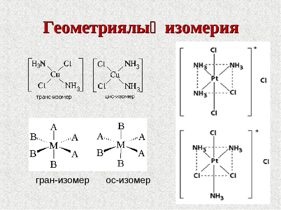 Геометриялық изомерия гран-изомер ос-изомер