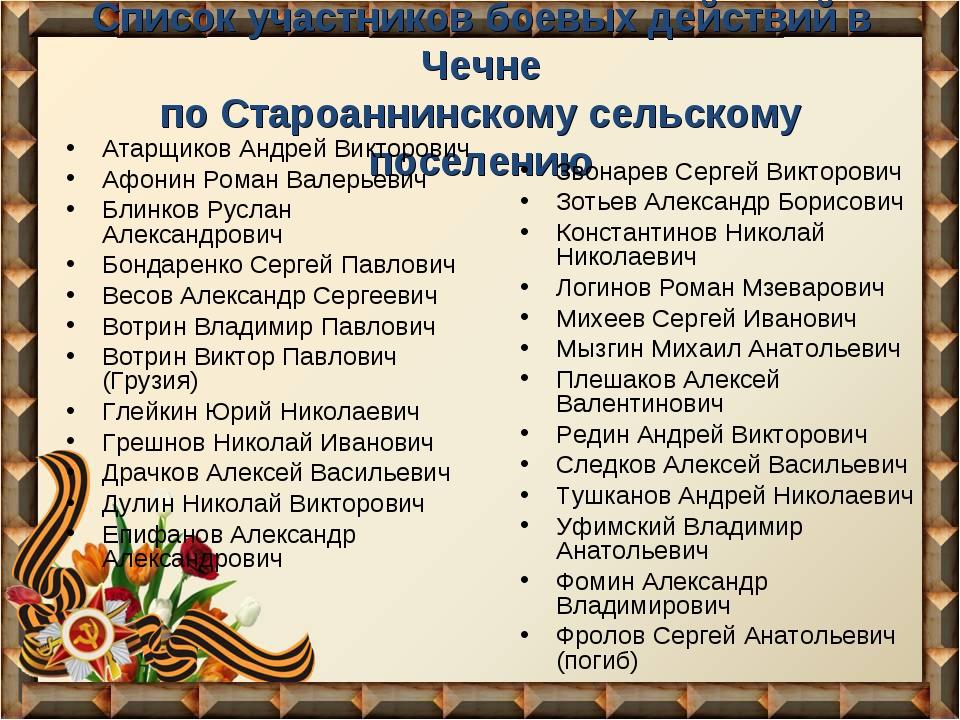 Список участников боевых действий в Чечне по Староаннинскому сельскому поселе...