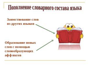 Заимствование слов из других языков Образование новых слов с помощью словообр