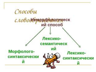 Способы словообразования Неморфологический способ Морфолого-синтаксический Ле