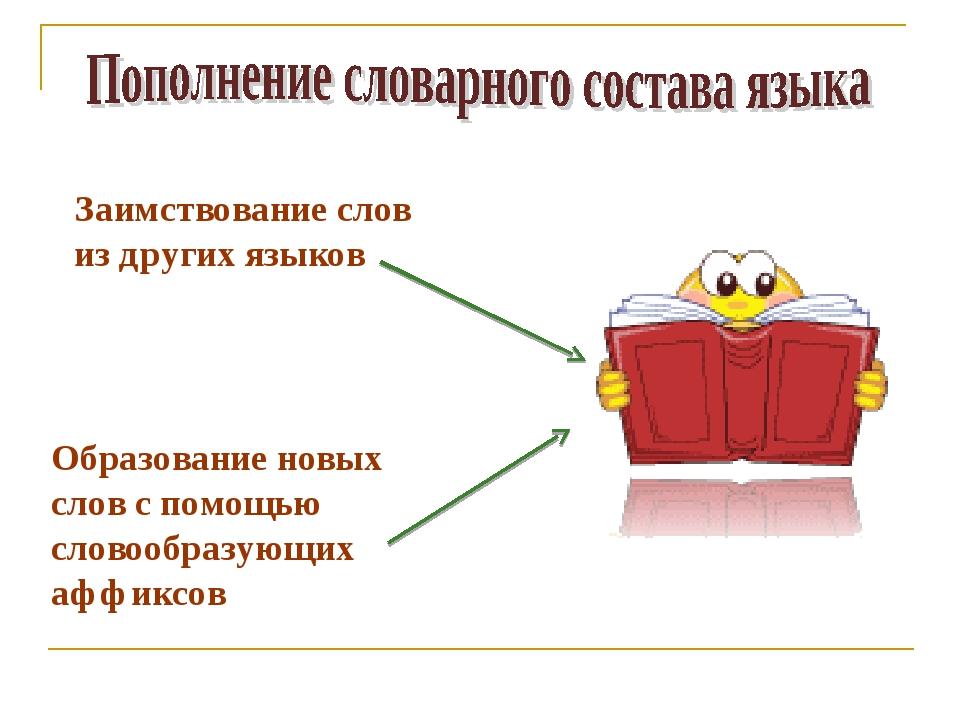 Заимствование слов из других языков Образование новых слов с помощью словообр...
