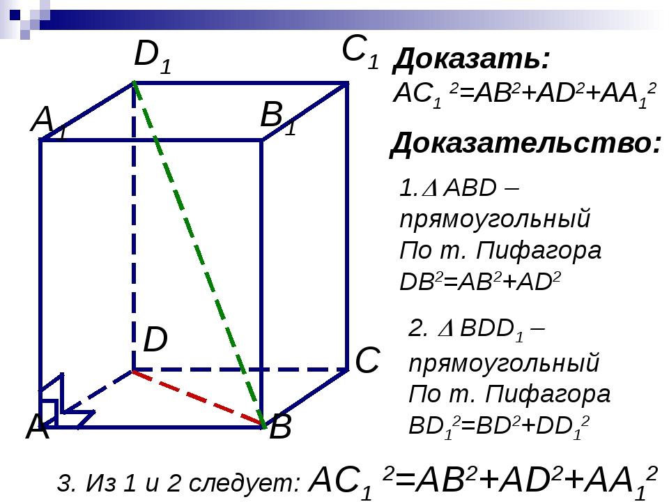 Доказать: AC1 2=AB2+AD2+AA12 Доказательство: 1. ABD –прямоугольный По т. Пиф...