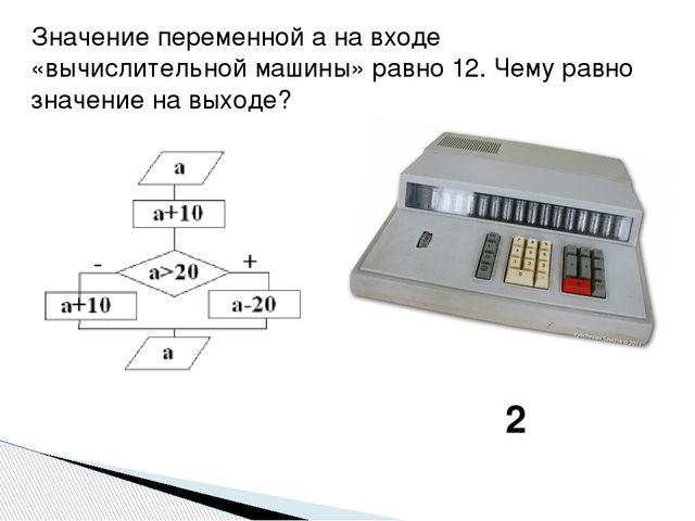 Значение переменной а на входе «вычислительной машины» равно 12. Чему равно з...
