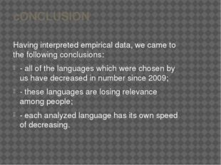 cONCLUSION Having interpreted empirical data, we came to the following conclu