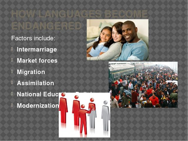 HOW LANGUAGES BECOME ENDANGERED Factors include: Intermarriage Market forces...