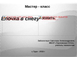 Мастер - класс Заболотных Светлана Александровна МБОУ «Труновская ООШ» учител