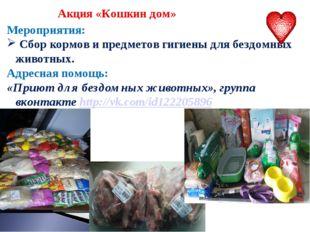 Акция «Кошкин дом» Мероприятия: Сбор кормов и предметов гигиены для бездомны