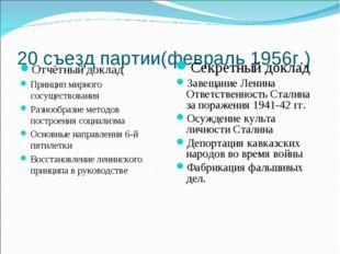 20 съезд партии(февраль 1956г.) Отчётный доклад Принцип мирного сосуществован