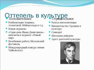 Оттепель в культуре Положительное Реабилитация Зощенко, Ахматовой, Мейерхольд