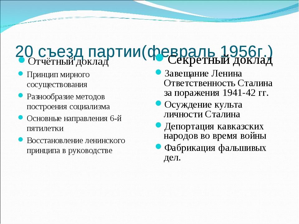 20 съезд партии(февраль 1956г.) Отчётный доклад Принцип мирного сосуществован...