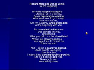 Richard Marx and Donna Lewis At the Beginning We were rangers/strangers Star