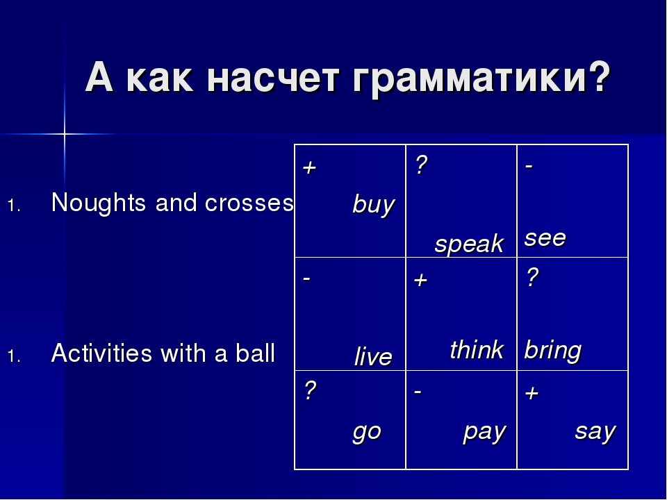 А как насчет грамматики? Noughts and crosses Activities with a ball