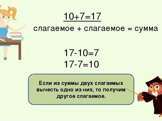 Если из суммы двух слагаемых вычесть одно из них, то получим другое слагаемое...