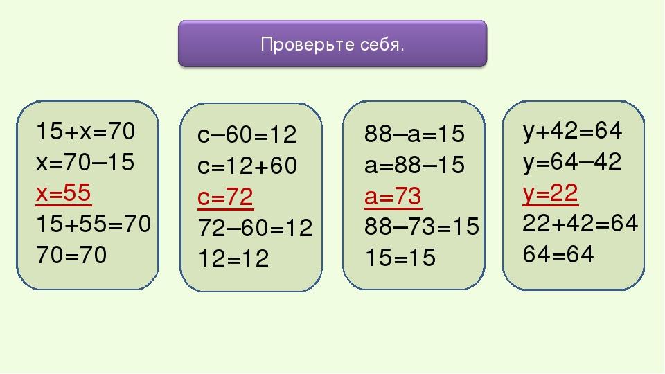 15+х=70 х=70–15 х=55 15+55=70 70=70 у+42=64 у=64–42 у=22 22+42=64 64=64 с–60=...