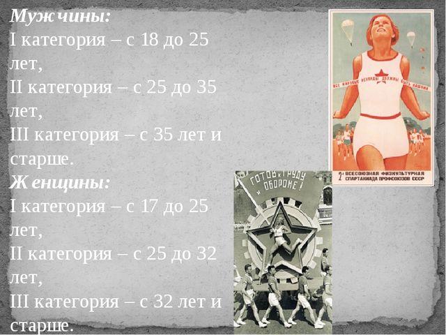 Мужчины: I категория – с 18 до 25 лет, II категория – с 25 до 35 лет, III кат...
