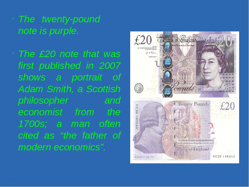 The twenty-pound note is purple. The £20 note that was first published in 20...