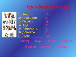 Боги древнего мира 1. Зевс 2. Посейдон 3. Гефест 4. Аид 5. Афродита 6. Деметр