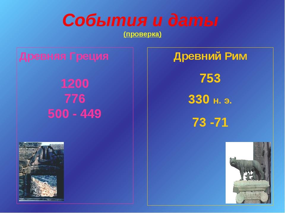 События и даты (проверка) Древняя Греция 1200 776 500 - 449 Древний Рим 753 3...
