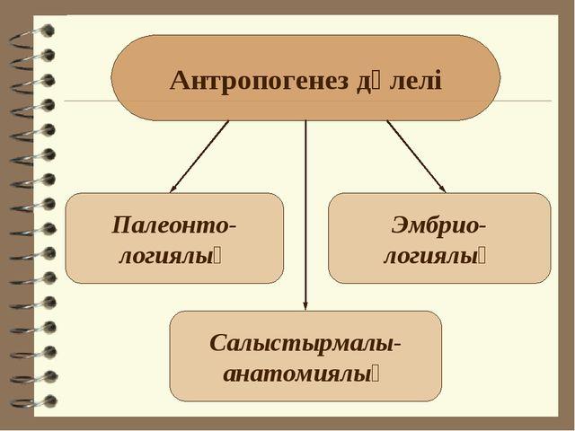 Антропогенез дәлелі Палеонто- логиялық Салыстырмалы- анатомиялық Эмбрио- логи...