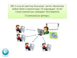 MS Access мәліметтер базасының негізгі объектілері жайлы білім қалыптастыру.