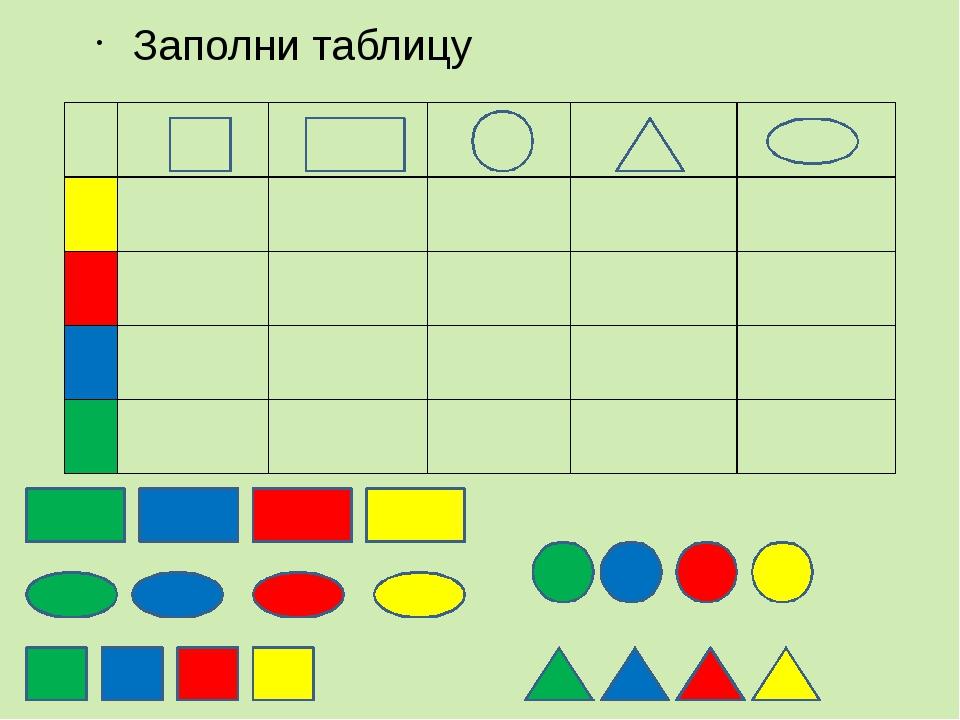 Заполни таблицу