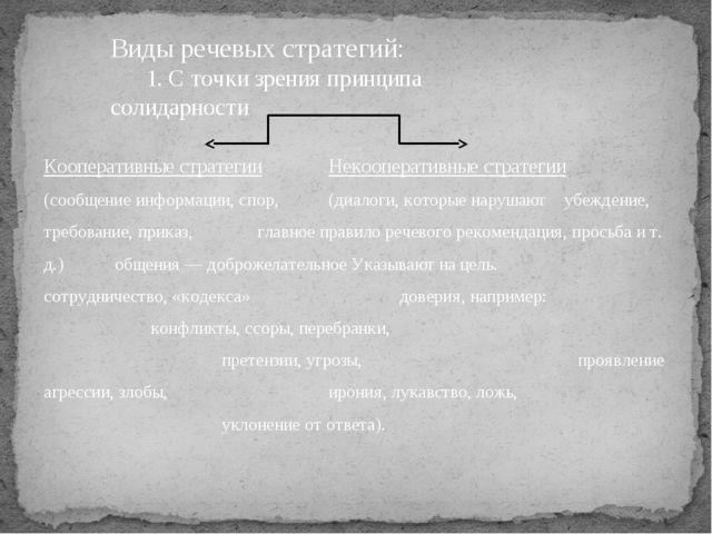Виды речевых стратегий: 1. С точки зрения принципа солидарности  Коопе...