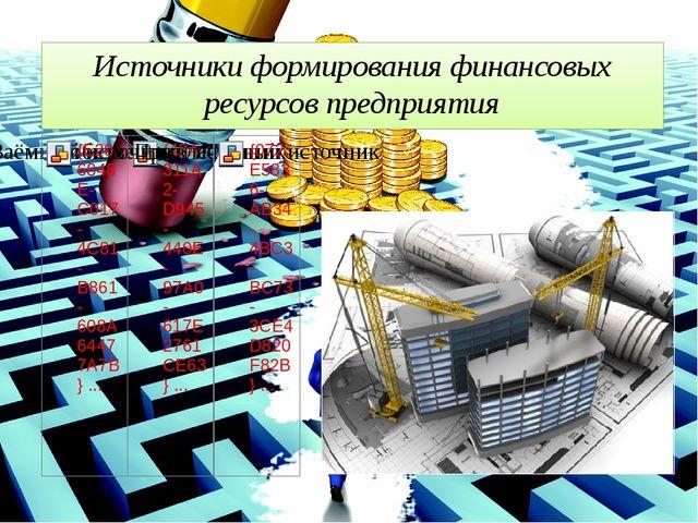 Источники формирования финансовых ресурсов предприятия