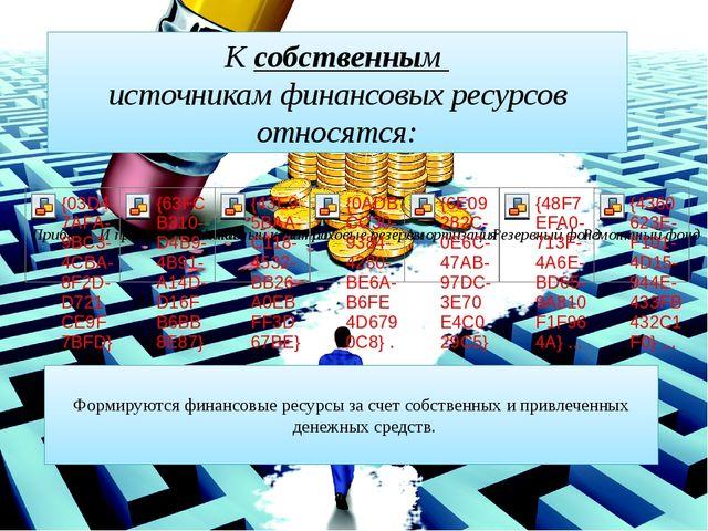 Формируются финансовые ресурсы за счет собственных и привлеченных денежных с...