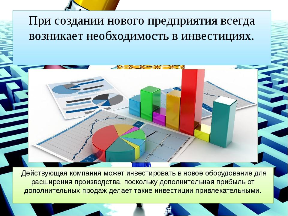 При создании нового предприятия всегда возникает необходимость в инвестициях....