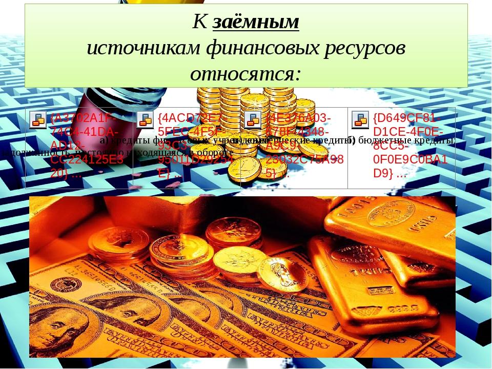 Кзаёмным источникам финансовых ресурсов относятся: