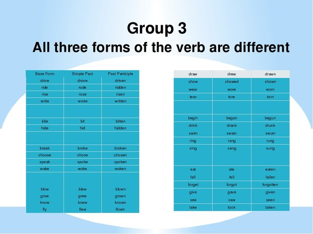Group 3 All three forms of the verb are different Base Form Simple Past Past...