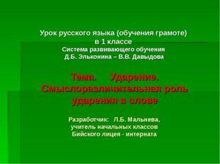 Урок русского языка (обучения грамоте) в 1 классе Система развивающего обучен