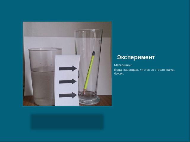Эксперимент Материалы: Вода, карандаш, листок со стрелочками, бокал.