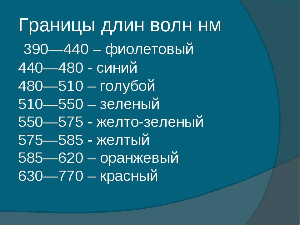 Границы длин волн нм 390—440 –фиолетовый 440—480 -синий 480—510 –голубой...