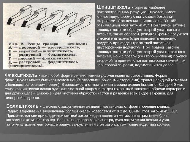 Шпицштихель- один из наиболее распространенных режущих штихелей, имеет клино...