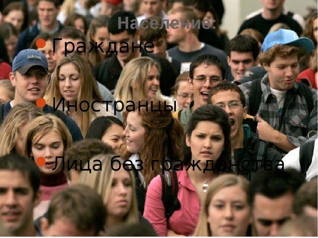Население: Граждане Иностранцы Лица без гражданства