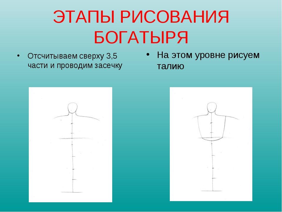 Отсчитываем сверху 3,5 части и проводим засечку На этом уровне рисуем талию Э...