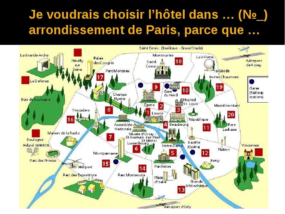 Je voudrais choisir l'hôtel dans … (№_) arrondissement de Paris, parce que …