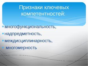 многофункциональность, надпредметность, междисциплинарность, многомерность Пр
