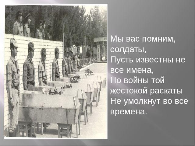 Мы вас помним, солдаты, Пусть известны не все имена, Но войны той жестокой ра...