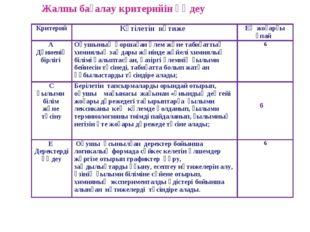 6 Жалпы бағалау критерийін өңдеу  КритерийКүтілетін нәтиже Ең жоғарғы ұпай